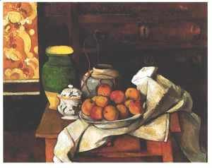 Paul Cezanne - Vessels  Fruit And Cloth In Front Of A Chest