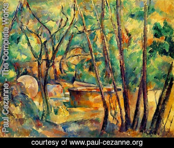 Paul Cezanne - Well  Millstone And Cistern Under Trees Aka Meule Et Citerne Sous Bois